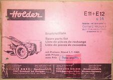 Holder Ersatzteilliste Einachsschlepper E11 und E12