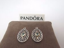 New w/Box Pandora Vintage Allure Compose 2 Tone Earrings 290678SSG