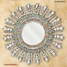 "17.7"" Silver Decorative Mirror - Home Wall Decor - Peruvian Sunburst Mirrors"