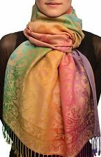 Large Ombre Paisley On Beige Pashmina With Tassels (SF002573)