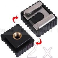 "2x 1/4"" Screw Hole Cold Foot to Hot Shoe Mount Adapter for Canon Speedlite Flash"