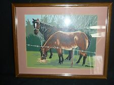 Vintage Mid Century paint By Number Horses - Professionally Framed