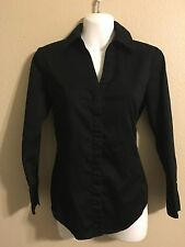 Talbots Classic Black Button Down Top Size 4