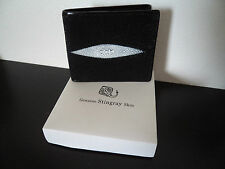 Genuine Jewelled Stingray Skin Leather Black Bi Fold Wallet Sting Ray & Gift Box