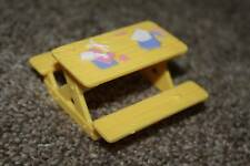 Sweet Streets Fisher Price Yellow Arts Picnic Table Camp Cabin Doll Toy RARE HTF