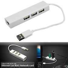 USB 2.0 to 100 Gigabit RJ45 Ethernet 3-Port USB Hub LAN Network Adapter For PC