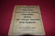 John Deere Model OR Offset Tractor Disk Harrow Operator's Manual DCPA3