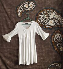 Ice Silk White Women's Medium Gypsy Dress Boho Coachella Hipster Bell Sleeves