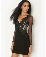 Lipsy Michelle Keegan Black Lace Applique Long Sleeve Bodycon Size 10 Dress