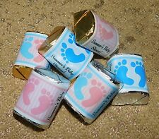 BLUE PINK BOY GIRL FOOTPRINTS HERSHEY NUGGET WRAPPERS BABY SHOWER PARTY FAVORS