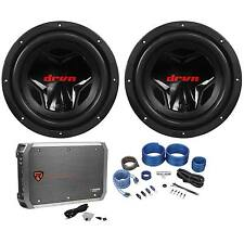 "(2) JVC CS-G1210 12"" 2400W Subs+Rockville RXD-M2 3000W Mono Amplifier+Amp Kit"