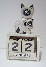 Shabby White Cat Perpetual Calendar, Desk Ornament, Wooden Fair Trade NEW 17cm