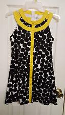 Girls Size 12 Rare Editions Black,Yellow & White Polka Dot Dress