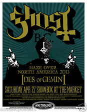 """GHOST B.C. / IDES OF GEMINI """"HAZE OVER AMERICA 2013"""" SEATTLE CONCERT TOUR POSTER"""