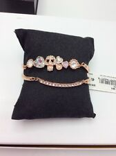 $38 Betsey Johnson Rose Gold Tone 2 Pc Pink Crystal & Pave  Skull  Bracelet