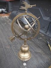 "OLD WORLD ORB ASTROLOGY SPINNING GLOBE INDIA ARMILLARY SPHERE BRASS 13"" High"