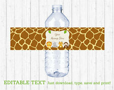 Cute Jungle Safari Animals Water Bottle Labels Printable Editable PDF