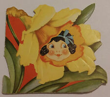 VINTAGE 1936 VALENTINE'S DAY I'M DAFFY ABOUT YOU DAFFODIL GREETING CARD