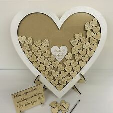 Personalised white wedding heart shaped guest book drop box wooden 56 hearts
