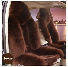 100% Genuine Brown Sheepskin Long Wool Car Seat Covers Cover(Universal Fit) Pair
