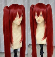 Popular Fairy Tail Scarlet Dark Red Cosplay Wig + Two Clip on Ponytail