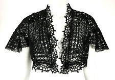 CHANEL Black Mohair Crochet Lace Flared Sleeve Shrug Sweater 38
