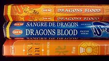 FANTASY Dragons Blood Blue Fire 60 HEM Incense Sticks 3 Scent Sampler Gift Set