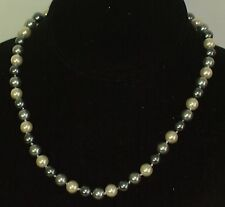 """8MM Multicolor Silver, Gray & White Necklace 18"""" NEW (in a silk gift bag)"""
