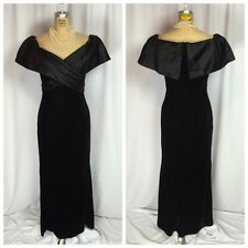 Vintage Black Velvet and Taffeta Old Hollywood Evening Gown.