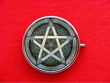 PENTAGRAM WICCA WITCHCRAFT STAR CELTIC ROUND METAL PILL MINT BOX CASE