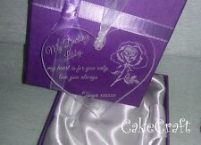 Engraved Personalised st valentine's day Acrylic love heart,keepsake gift in box