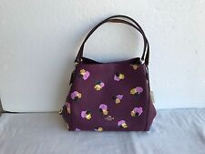 NWT COACH 37160 EDIE 31 FLORAL LEATHER SHOULDER BAG PURSE Plum Field Flora