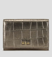 Ralph Lauren RL Gold Lanesborough Flap Coin Case Wallet Bag Handbag Purse NWT