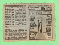 #D97.  BRITISH NORTHSPORT 1978 PRIZE TICKET - YORKSHIRE, CRICKET STUMPS