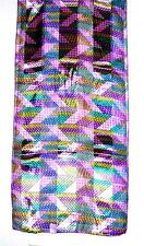 SCARF Long Purple Violet Turquoise Pink Gold EASTER EGG GEOMETRIC