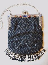 Antique Filigree Red Blue Jewel Frame Crochet Grey Black Micro Bead Fringe Purse