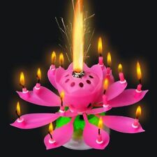 Romantic Musical Rotating Lotus Flower Happy Birthday Party Gift Candle Lights