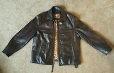 Mens large Andrew Marc new york leather jacket long sleeve full zip brown coat