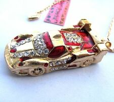 Betsey Johnson shiny crystal/red enamel Sports car pendant Necklace#388L R