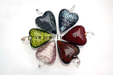 Wholesale Lots 12Pcs Heart Murano Lampwork Glass Beads Pendant Fit necklace FREE