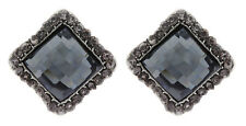 CLIP ON EARRINGS - silver earring with crystals and a square stone - Hera