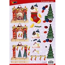 A4 3D Paper Tole Christmas Fire Place, Stockings and Christmas Tree NEW
