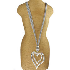 Large chunky double heart silver pendant CZ set grey leather suede long necklace