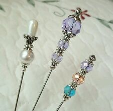 Antique Vintage Inspired Victorian Hat Pins Crystal Beads Clutch Included, Sharp
