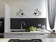 2 Tazas De Café Té Cocina pegatinas de pared Cafe Vinilo Arte calcomanías Decoración Diy transferencia