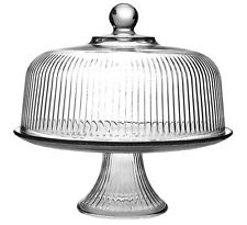 Anchor Hocking Monaco Ribbed Glass Cake Stand Dome With Punch Bowl