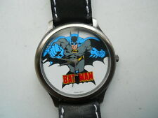 "Fossil ""BATMAN""men's black leather,quartz,battery & water resistant Analog watch"