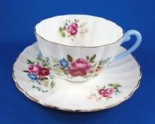 Shelley Blue Handle Rose Floral Bouquet Tea Cup and Saucer Set