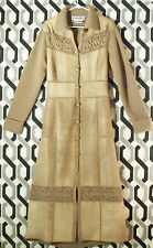 Carlisle Kid Mohair Crochet Wool Maxi Sweater Coat Duster Leather Patchwork $890
