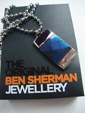 BEN SHERMAN MEN'S MAN'S STAINLESS STEEL  DOG TAG 53 CM BALL CHAIN NECKLACE box